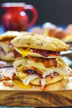 Got Thanksgiving leftovers? Use them up in this epic Turkey Egg and Bacon Breakfast Sandwich with Cranberry Mayo.