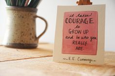 Tiny Pink Watercolor Quote Painting - Courage #handmade #new