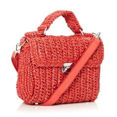 Designer Red Basket Woven Satchel