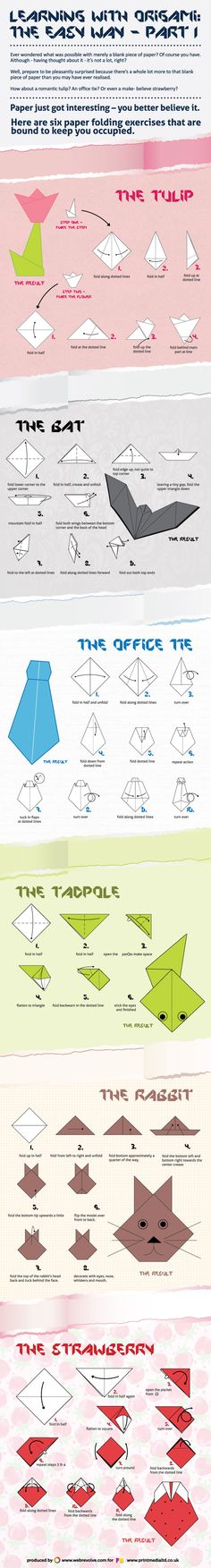 6 Easy Origami : Either in moments of embarrassment, or tediousness, or creativity rush, knowing how to play with a piece of paper is good for relaxation. Learn how to easily craft 6 paper objects following the ancient origami technique. Try that as an exercise to keep children occupied.  > http://infographicsmania.com/6-easy-origami/