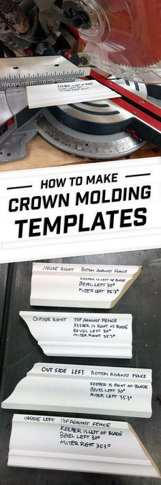 Make a set of handy templates to help you set up a compound miter saw for common crown molding cuts.