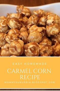 "Easy Homemade Carmel Corn and Kettle Corn Recipes - Easy Homemade Carmel Corn recipe by mommysuburbia.blo… "" Easy Homemade Carmel Corn recipe by mo - Homemade Carmel Corn, Homemade Kettle Corn, Caramel Corn Recipes, Kettle Corn Recipes, Carmel Popcorn Recipe Easy, Carmel Recipe, Popcorn Recipes, Toffee Popcorn, Flavored Popcorn"