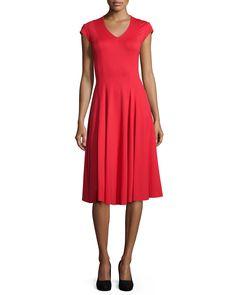Cap-Sleeve Fit & Flare Dress