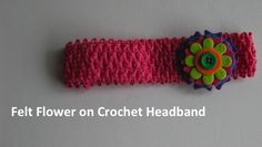 Felt flower on a pink crocheted headband.