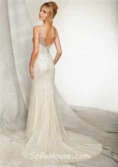 Slim Sheath Bateau Illusion Neckline Open Back Tulle Beaded Wedding Dress With Belt