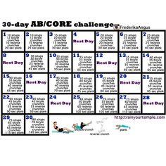 .@mymotivationstoloseweight | Here is the 30 day Abs challenge ! Get with it or get lose ! You can start an... | Webstagram - the best Instagram viewer
