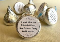 Cute sticker to put on bottom of hershey kiss for a wedding: a heart full of love, a life full of kisses, now __ and __ are mr and mrs