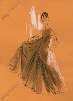 Design for a loose-fitting evening dress, 1963 © akg-images / Gerd Hartung