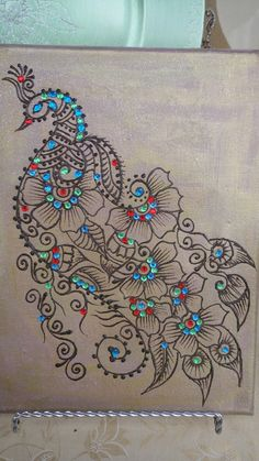 Henna art * Sangita .... black doodled peacock on a gray base ... dots of turquoise liquid pearls ... luv the exotic look!