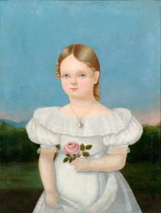 Julien Hudson  Portrait Of A Young Girl With A Rose  1834  oil on canvas  Zigler Museum #FloralShop