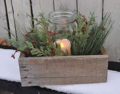 Hey, I found this really awesome Etsy listing at https://www.etsy.com/listing/213425085/reclaimed-wooden-box-w-candle-in-canning