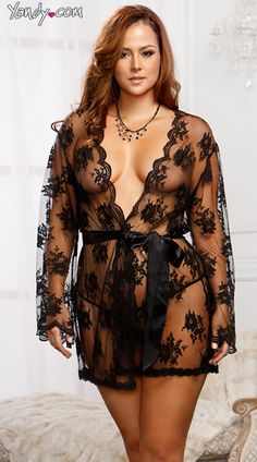 Plus Size Lace Robe with Butterfly Sleeves