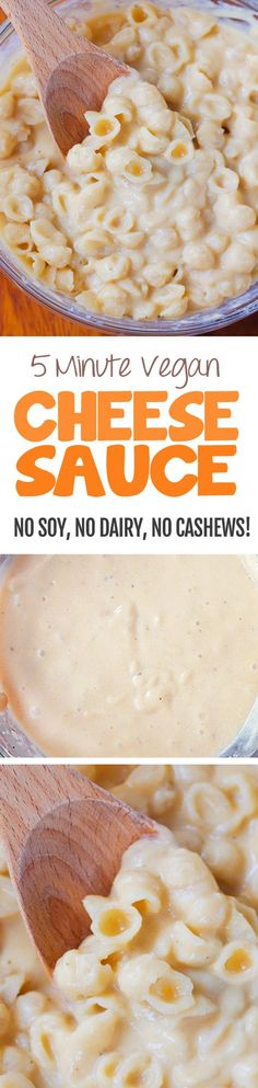 Creamy vegan cheese sauce, with NO nuts, soy, dairy, or tofu!