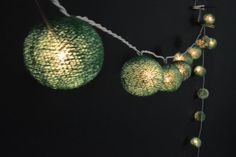 35 Lights - Green Cotton Ball String Lights Fairy Lights Patio Lights Wedding Lights Decoration Lights