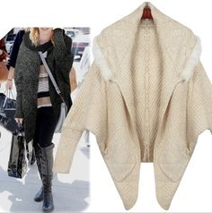 Year End SALE! Korean Style Women's Irregular Batwing Cardigan with Fur Trim. REG $57.95 NOW $34.95! While stock last!