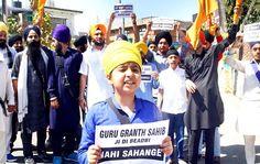 Sikh youth protesting against sacrilegious act at Nanak Nagar in Jammu.