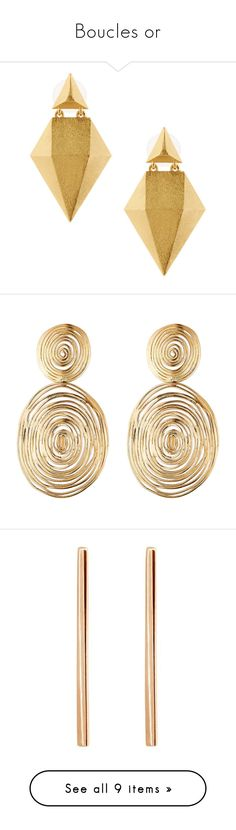 """""""Boucles or"""" by liligwada ❤ liked on Polyvore featuring jewelry, earrings, accessories, brinco, gold, gold triangle earrings, geometric earrings, gold jewellery, 24k gold jewelry and 24k gold earrings"""