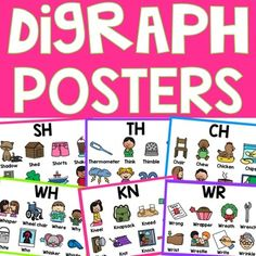 8 Digraph Posters: CH, SH, TH, WH, PH, KN, WR, QU...