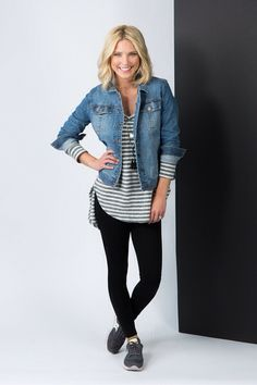 Stripes, leggings, Jean jacket & sneakers