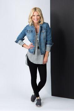Stripes, leggings, Jean jacket & sneakers