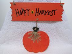 Happy Harvest Sign Thanksgiving Sign Fall by BrownBeaverBeadery