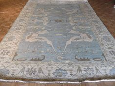 10 x 14 HAND KNOTTED SKY BLUE OUSHAK ORIENTAL RUG VEGETABLE DYES G3255 #Transitional
