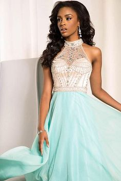 Glam high neck prom dress exclusive Jovani style at Hope's Bridal ...