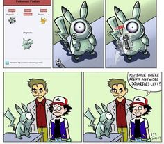 Picture from Pokemon. When Magnemite combined with pikachu, then Ash come to look a partner~ Pokemon Pins, Pokemon Comics, Pokemon Funny, Pokemon Memes, All Pokemon, Pokemon Fusion, Pokemon Stuff, Pokemon Pictures, Funny Pictures