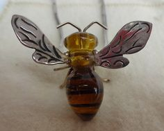 Fab Vintage Los Castillo Mexican Taxco Sterling Silver Glass Bumble Bee Pendant Necklace