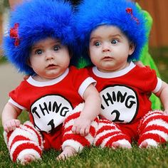 """Shelley of How Does She came up with these adorable Thing #1 and Thing #2 costumes (pictured at the top of this post) for her twins.  The """"wigs"""" were created by hot-gluing a blue feather-boa to a beanie hat.  The striped leggings were women's socks that Shelley found at Walmart.  To make them into leg-warmers she simply cut off the feet!"""