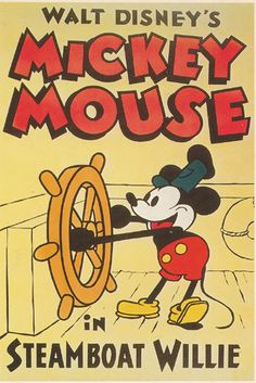 In the first animation was released by Walt Disney. Steamboat Willie featured Mickey Mouse and it was a short film. It ran for almost 8 minutes and was in black- and- white. Mickey Vintage, Posters Disney Vintage, Retro Disney, Disney Movie Posters, Disney Love, Disney Cartoons, Vintage Disneyland, Disney Couples, Walt Disney Mickey Mouse