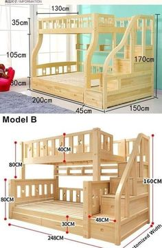 furniture design beds Handmade Bed With Storage Bunk Bed Designs, Kids Bedroom Designs, Bedroom Bed Design, Kids Room Design, Bedroom Decor, Bedroom Wall, Decor Room, Wall Decor, Baby Room Furniture