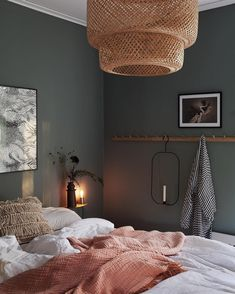 Are you yay or nay on the moody green interiors design trend? Click through to check out all 12 stunning green interiors and then decide. Bedroom Green, Bedroom Colors, Home Decor Bedroom, 60s Bedroom, Green Bedrooms, Bedroom Ideas, Couple Bedroom, Mid Century Modern Bedroom, Modern Bedroom Design