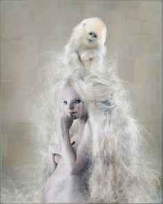 white - woman with monkey -  painting - Chris Berens