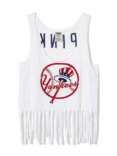 PINK New York Yankees Fringe Racerback Tank #VictoriasSecret http://www.victoriassecret.com/pink/new-york-yankees/new-york-yankees-fringe-racerback-tank-pink?ProductID=109319=OLS?cm_mmc=pinterest-_-product-_-x-_-x