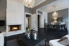 Love the dark floors with the grey and white.