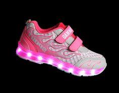 Children's fashion shoes luminous green pink