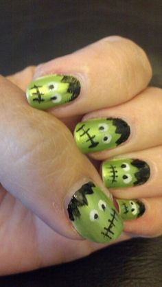 Frankenstein Halloween nail art.