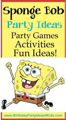 Sponge Bob Squarepants Birthday party ideas!   Fun ideas for Sponge Bob themed party games, activities, party favors, food and more!   #spongebob #party #kids  Find more party ideas on BirthdayPartyIdeas4Kids.com