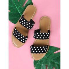 Polka Dots everywhere. Black Heels Low, Low Heels, Baby Sandals, Palm Beach Sandals, Black Slippers, Womens Fashion Stores, Older Women Fashion, Peep Toe Heels, Urban Fashion