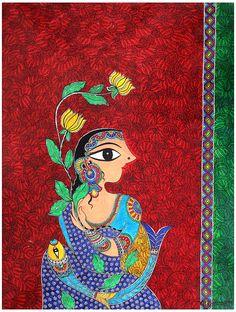 Madhubani painting, Indian folk art by Bharti Dayal Indian Artwork, Indian Folk Art, Indian Art Paintings, Indian Artist, Easy Paintings, Landscape Paintings, Madhubani Art, Madhubani Painting, Krishna Painting