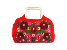 60s Red Felt Embroidered Purse with European by FoxburrowVintage, $25.99