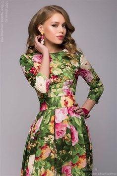 ЛЮБЛЮ ПЛАТЬЯ интернет-магазин платьев - Зеленое платье с крупным цветочным принтом и юбкой-полусолнце