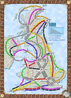 Fan produced map for Ticket to Ride UK Modern Games, Ticket To Ride, Londonderry, Kingdom Of Great Britain, The Expanse, Board Games, Uk Board, Collections, Game Room