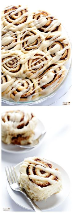 Brown Butter Cinnamon Rolls -- Seriously, you must try these.  Absolutely delicious, and ready to go in a little over an hour.   gimmesomeoven.com #breakfast