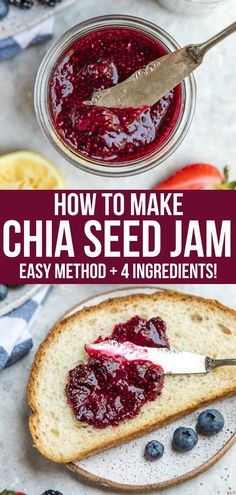 How to Make Chia Seed Jam (Healthy & Easy!) – From My Bowl Skip the refined sugars and make your own healthy Chia Seed Jam using only 4 basic ingredients! It's perfect on toast, in oatmeal, on sandwiches, and more. Jam Recipes, Gourmet Recipes, Whole Food Recipes, Vegetarian Recipes, Cooking Recipes, Healthy Recipes, Dessert Recipes, Vegan Meals, Diet Recipes
