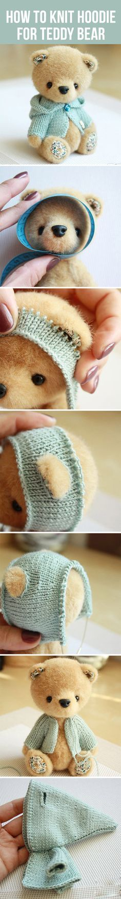 How to knit hoodie for Teddy bear