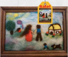 """Sale! Needle felted painting """"Happy Family"""" by OlessiaWoolPets"""