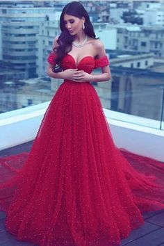 Red Prom Dresses #RedPromDresses, Prom Dresses A-Line #PromDressesALine, Prom Dresses Long #PromDressesLong