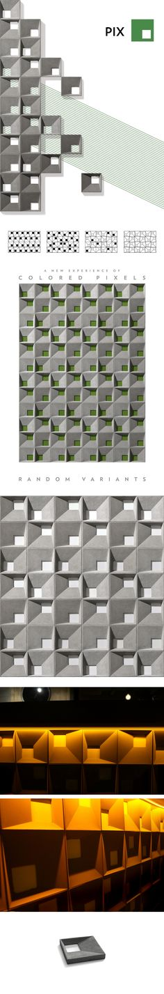 PIX- Geometric illusion of cubic forms.- A new experience of colored pixels.- Random variants.20 x 20 cm.